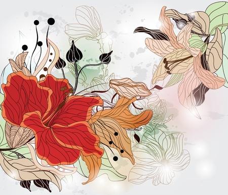 ibiscus: sfondo floreale con ibiscus e diversi tipi di fiori Vettoriali