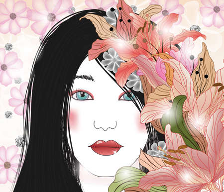 portrait of a beautiful brunette with floral decoration