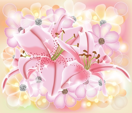 shining composition with lilies and cosmos  Stock Vector - 12813011