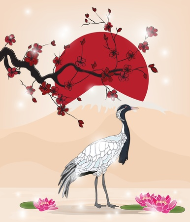 birds scenery: beautiful oriental picture with cherry blossom branch and crane