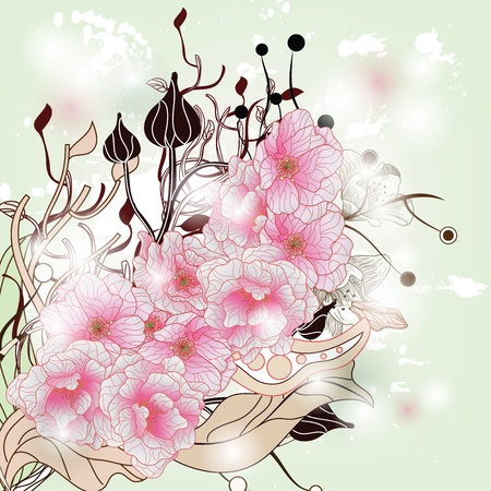 peach blossom: cherry blossom branch with plants and vegetation