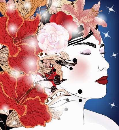 amazing wallpaper: Ritratto di donna incantevole Vettoriali