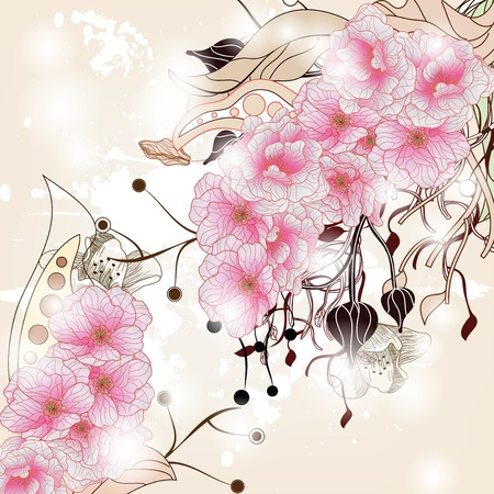 floral background with cherry blossom branch, plants and space for text  Vector