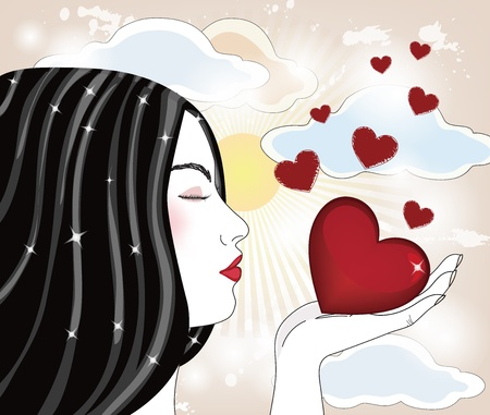 blow kiss: I give you my love  Illustration