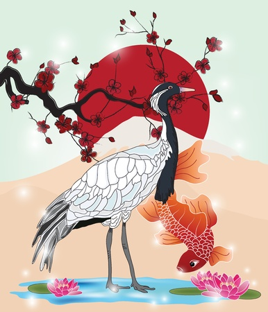 oriental picture with crane and carp  Vector
