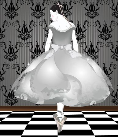 portrait of a classical dancer in an elegant room  Vector