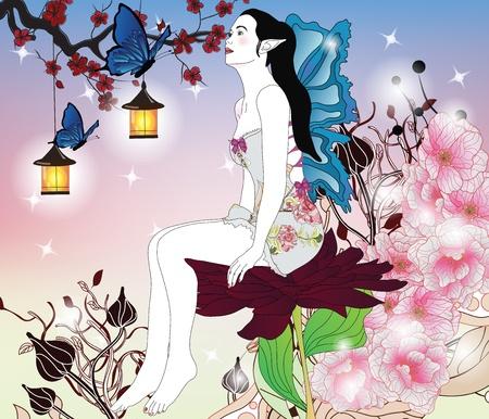 portrait of a fairy in an enchanted garden  Vector