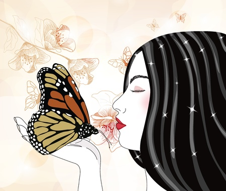 romantic portrait of a woman with big butterfly  Vector