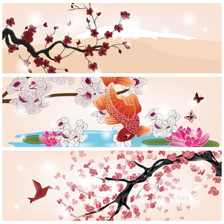koi fish pond: set of oriental banners