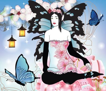 fairy with butterflies in an enchanted garden  Vector