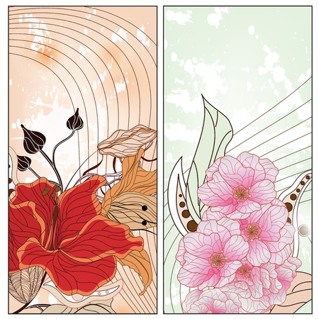 lily flowers collection: two vintage floral cards with space for text  Illustration