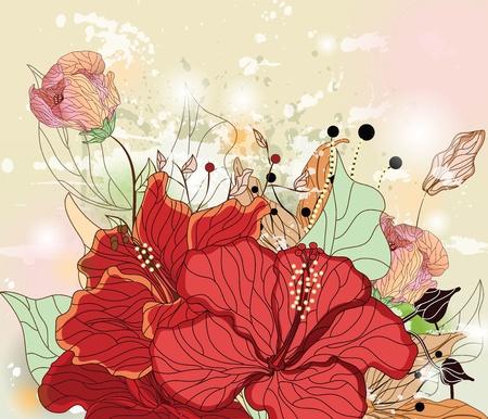 ibiscus: composizione del grunge con i fiori di ibisco, gigli e spazio per il testo