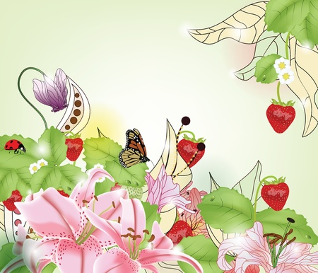 cyclamen: summer background with strawberries, different kinds of flowers and space for text
