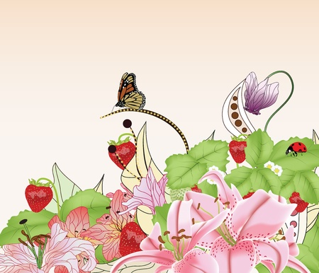 lily buds: summer background with strawberries, different kinds of flowers and space for text