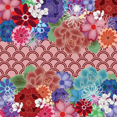 japanese style: colorful oriental background with big peony flowers  Illustration