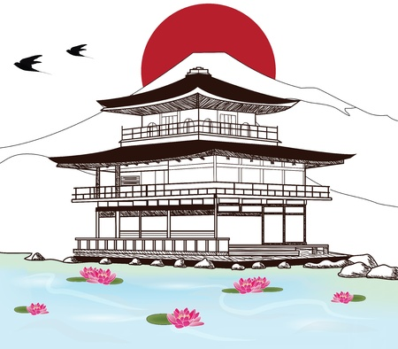 birds scenery: sketch of a beautiful japanese pagoda