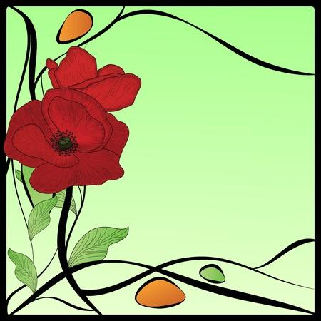 stile liberty: art nouveau cornice di papaveri