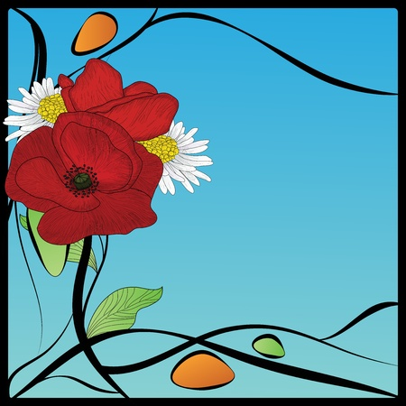 poppy leaf: art nouveau frame with poppies and daisies Illustration