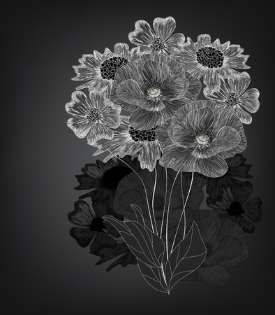anemones: elegant flowers composition Illustration