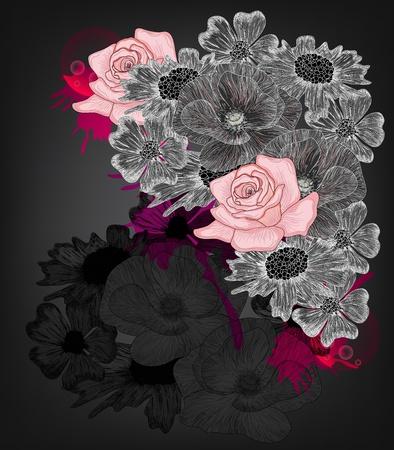 flores fucsia: la composici�n original de la flor