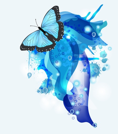 abstract background with blue butterfly and space for text Stock Vector - 13241610