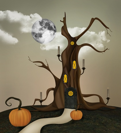 moon gate: The spooky tree Stock Photo
