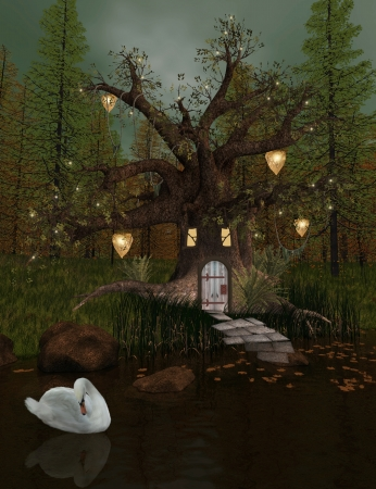 enchanted forest: The secret house Stock Photo