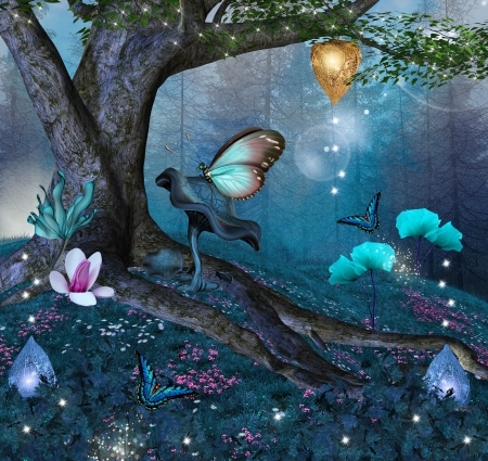 fantasy fairy: Enchanted nature series - enchanted tree in the middle of the forest Stock Photo