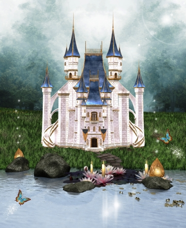 enchanted forest: Enchanted castle Stock Photo