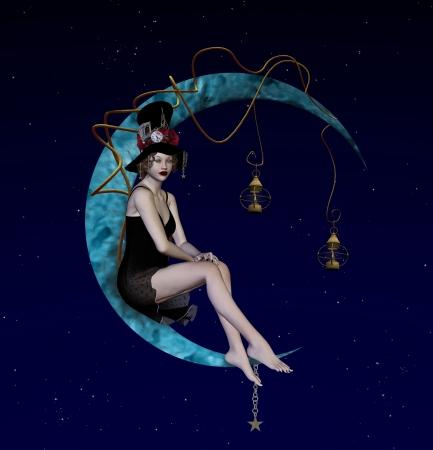 alice au pays des merveilles: Bizarre nuit Banque d'images