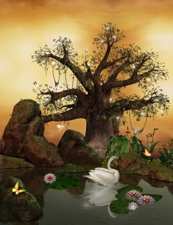 Enchanted nature series - romantic lake photo