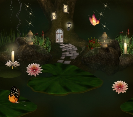 water nymph: Enchanted pond and elf house