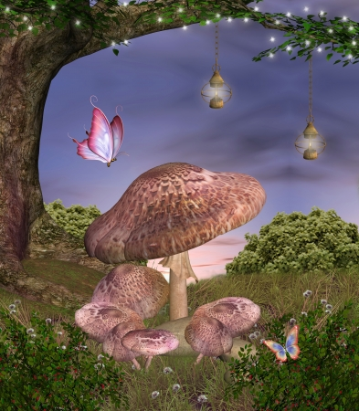 Enchanted nature series - magic mushrooms photo