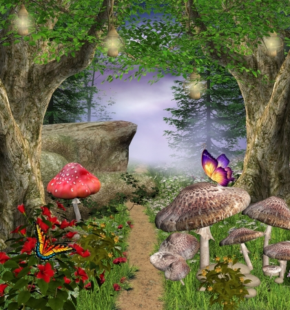 fairytale background: enchanted nature series - enchanted pathway Stock Photo