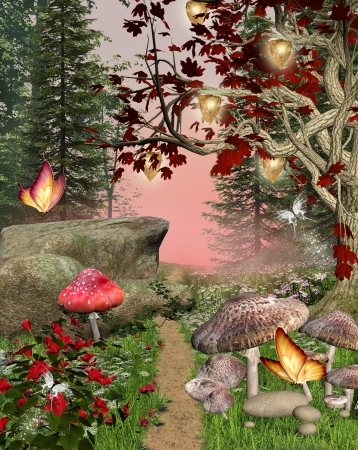 fairytale background: Enchanted nature series - magic pathway Stock Photo