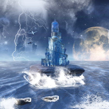 fantasy seascape with a wonderful glass tower photo