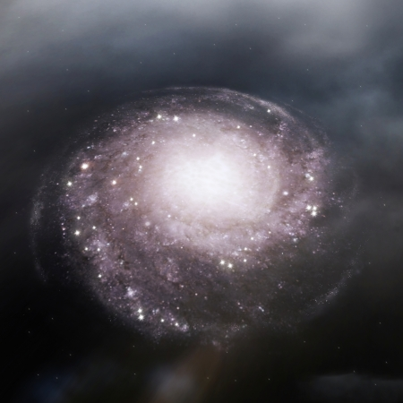 beautiful spiral galaxy in the outer space