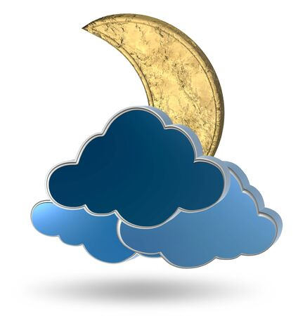 nocturne: Gold crescent moon and clouds on a white background