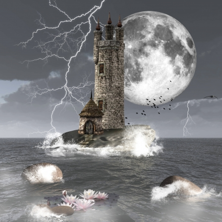 Beautiful seascape with a mysterious tower photo