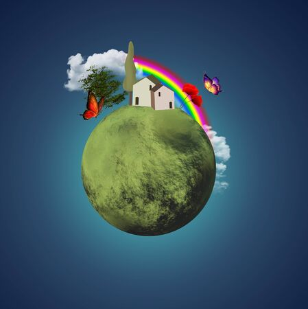 heaven and earth: Little lovely planet Stock Photo