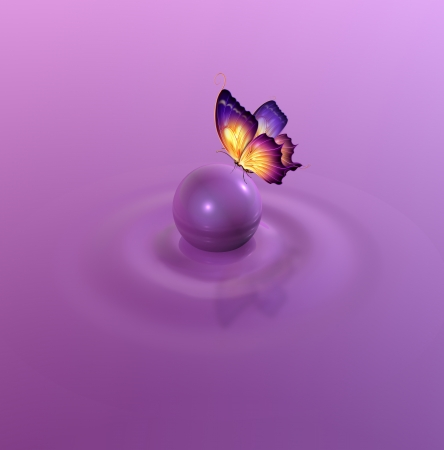 purple butterfly: Romantic abstract background Stock Photo