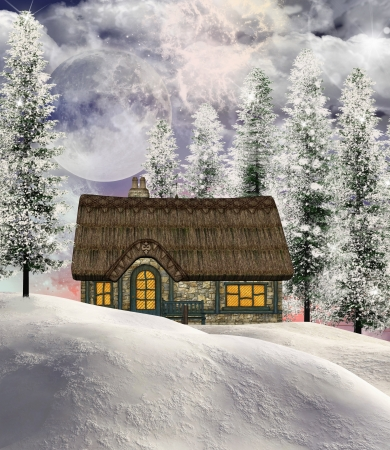 nocturne: Winter cottage Stock Photo