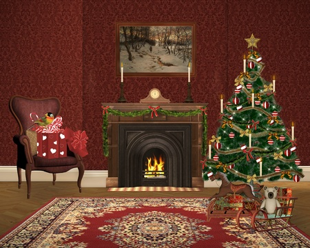 christmas fireplace: Lovely christmas illustration Stock Photo