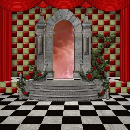 alice au pays des merveilles: Wonderland s�rie - Wonderland salle romantique Banque d'images