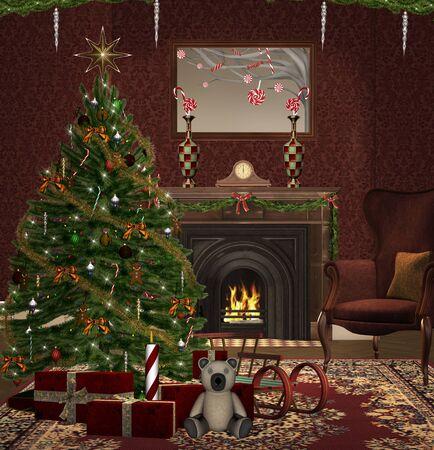 fireplace christmas: Christmas room