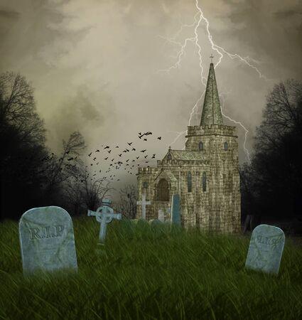 gothic church: Church and graves