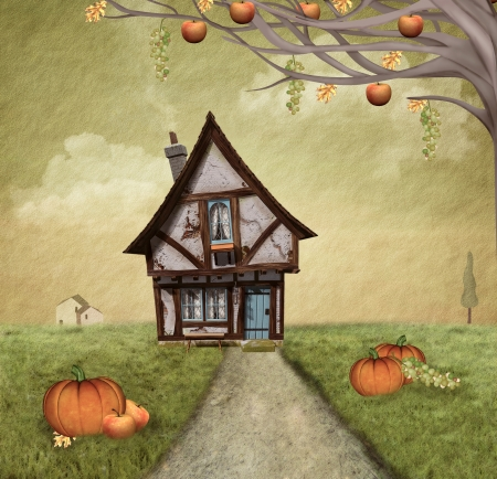 country house style: Autumnal country house - painted style