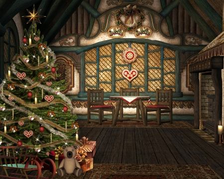 christmas fireplace: Magic christmas