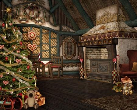 casa de campo: Enchanted Navidad Foto de archivo
