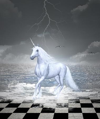 tablero de ajedrez: Galopes de caballos, en un maravilloso surrealista paisaje marino - estilo digital de pintado Foto de archivo